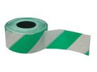 Heavy duty barrier tape, green and white chevron.