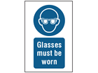 Glasses must be worn symbol and text safety sign.