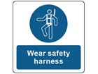 Wear safety harness symbol and text safety label.