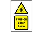 Caution Laser beam hazard symbol and text safety sign.