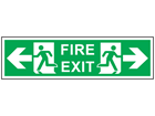Fire exit arrow right and left symbol and text safety sign.