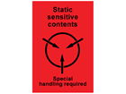 Static sensitive contents shipping label.