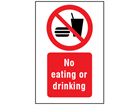 No eating or drinking symbol and text safety sign.