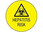 Hepatitis risk symbol and text safety label.