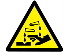 Corrosive hazard warning symbol label.