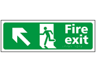 Fire exit, running man, arrow up left sign.
