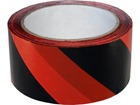 Laminated warning tape, black and red chevron.