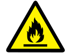 Flammable hazard warning symbol label.