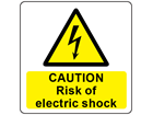Caution risk of electric shock symbol and text safety label.