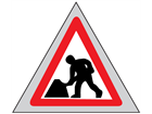 Men at work roll up road sign