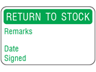 Return to stock quality assurance label