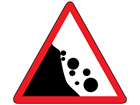 Beware falling rocks from the left sign