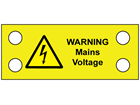 Warning mains cable tie tag.