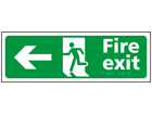 Fire exit, running man, arrow left sign.
