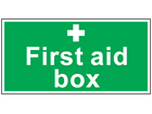 First aid box symbol and text safety sign.