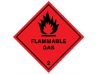 Flammable gas 2 hazard warning diamond sign