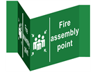 Fire assembly point projecting safety sign.