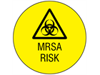 MRSA risk symbol and text safety label.