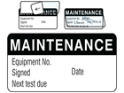 Maintenance jumbo write and seal labels.