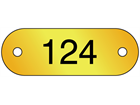 Serial Numbered Metal Nameplates, Brass 16mm x 47mm