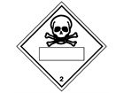 Toxic, class 2, hazard diamond label (with write on panel)