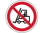 Fork lift truck prohibited symbol floor graphic marker.