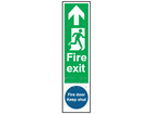Fire exit, running man right, arrow ahead. Fire door keep shut sign.