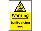 Warning surfboarding area sign.