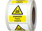 Danger toxic hazard symbol and text safety label.