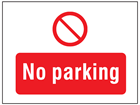 No parking symbol and text safety sign.