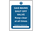 Gas mains shut off safety sign.