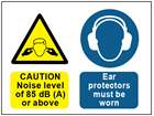 Caution noise level of 85dB (A) or above, ear protectors must be worn safety sign.