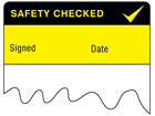 Safety checked cable wrap label