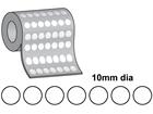 Thermal transfer labels, self adhesive paper, 10mm diameter.