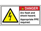 Arc flash and shock hazard label
