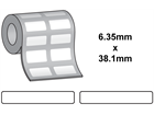 Thermal transfer labels, self adhesive polyester, 6.35mm x 38.1mm.