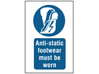 Anti-static footwear must be worn symbol and text safety sign.