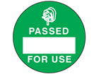 Passed for use label.
