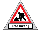 Men at work, tree cutting roll up road sign