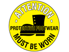Attention protective footwear must be worn floor marker