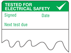 Tested for electrical safety, next test due cable wrap label