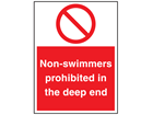 Non-swimmers prohibited in the deep end sign.