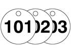 Plastic valve tags, numbered 101-125