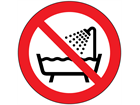 Do not use device in bath symbol labels.