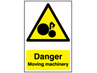 Danger, Moving machinery safety sign.