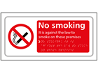 No smoking, Its against the law to smoke on these premises text and symbol sign.