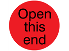 Open this end packaging label