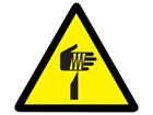 Sharp element warning symbol label.