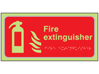 Fire extinguisher symbol and text photoluminescent sign.
