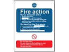 Fire action safety sign.